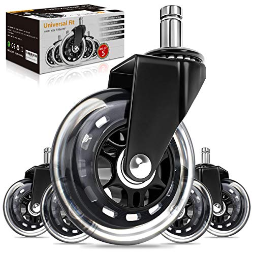 """Growsland Office Chair Wheels - Universal Caster wheels (Set of 5) Chair Casters Heavy Duty Rubber Replacement Wheels for Hardwood Floors & Carpet 7/16"""" x 7/8"""""""