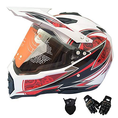 BOOM Professionnel Adultes Motocross Casque Kit AVCE Visière Gants Masque Casque intégral Polyvalent pour Femme Homme Enfant,Blanc,XXL