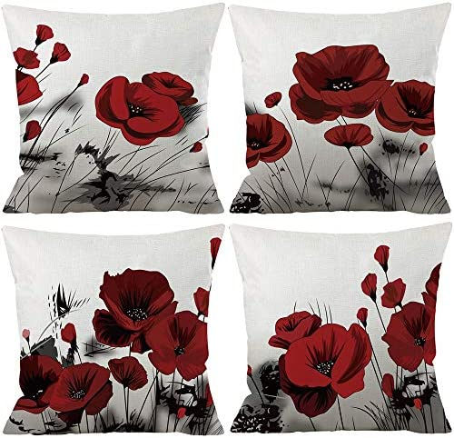 Best Set of 4 Plant Beautiful Retro Ink Painting Charming Red Poppy Cotton Linen Throw Pillowcase Couch P