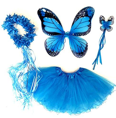 Tante Tina Schmetterling Kostüm Mädchen - 4-teiliges Mädchen Kostüm Schmetterling mit Tüllrock , Flügel , Zauberstab und Haarreif - Monarchfalter Blau - geeignet für Kinder von 2 bis 8 Jahren