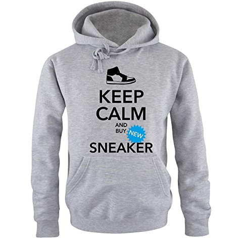 Comedy Shirts - Keep Calm and Buy Sneaker - Hommes Capuche - Gris/Noir-Bleu Taille L