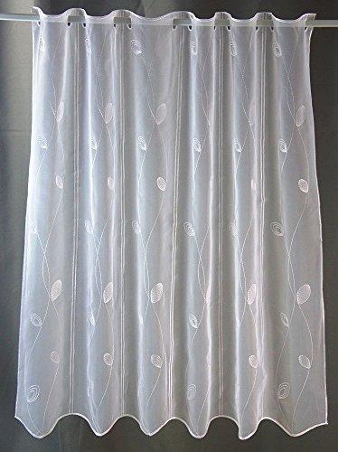 Scheibengardine Bestickt weiß mit Blättern mit Höhe 120cm | Breite der Gardine frei wählbar in 16cm Schritten | Gardine | Panneaux (Höhe 120cm)