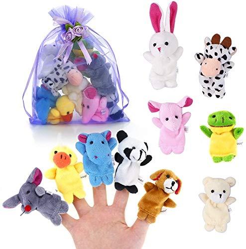 Juego de Marionetas de Dedo de 10 Piezas Muñeco de Peluche de Tela Juguetes de Animales de Dibujos Animados de Mano educativa para bebés