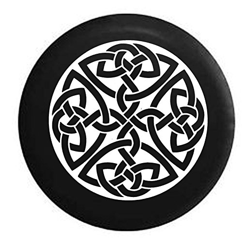 American Educational Products Celtic Cross Knot Irish Shield Warrior Spare Tire Cover Fits: SUVs RV and Camper Spare Tire Covers Black 33 in