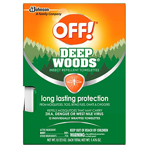 OFF! Deep Woods Mosquito and Insect Repellent Towelettes, 12 CT (Pack of 3)