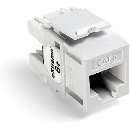 Leviton 61110-BW6 eXtreme 6+ QuickPort Connector, CAT 6, White, 25-Pack