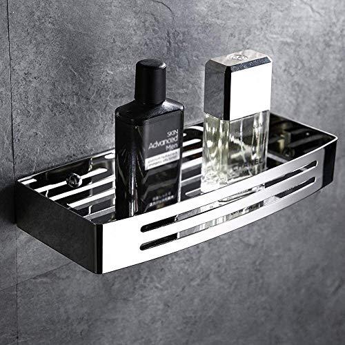 Estantes de baño Allshiny Silver SUS304 Carrito de ducha de ba?o de acero inoxidable Bandejas rectangulares Estante de ba?o a prueba de óxido Estante de almacenamiento flotante montado en la pared Sop