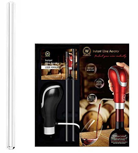 Instant 1-Button Aeration and Decanter WAERATOR Electric Wine Aerator: Enhance Wine Flavor of all Ages; Convenient Spout (253MM replacement straw)
