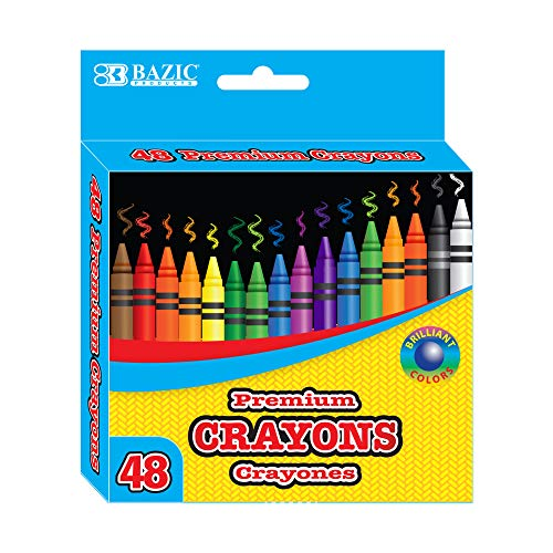 BAZIC 48 Count Premium Quality Color Crayon