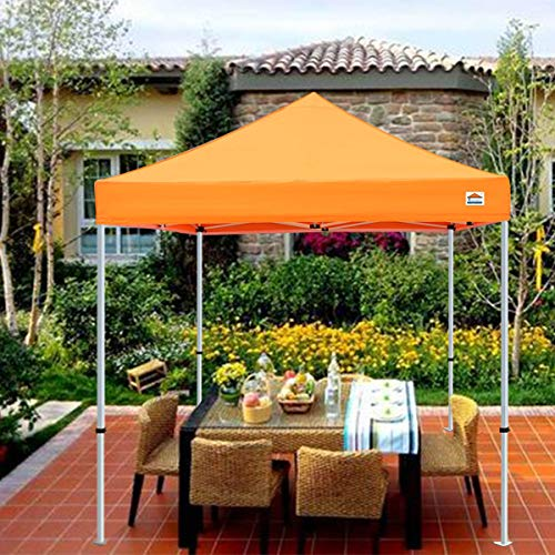 Tistent 10'x10' Ez Pop Up Canopy Tent Commercial Instant Shelter with Heavy Duty Carrying Bag, 4 Canopy Sand Bags Orange