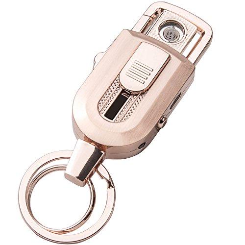 LUWANZ Elektronisches Feuerzeug Schlüsselanhänger, LUWANZ Elektro Feuerzeug USB Aufladbar ohne Flamme Windsicher USB Feuerzeug Schlüsselanhänger mit LED Licht (Rosagold) Rosagold