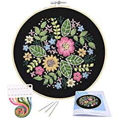 Valuable Hand Embroidery Set: full range of embroidery starter kit with all the tools you need to embroider; Just with this set, you can finish a pretty embroidery. Package Content: 1pc bamboo embroidery hoop, color threads, 1pc embroidery cloth with...