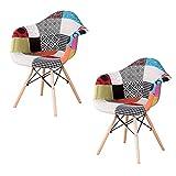 EDLMH Juego de 2/4 sillas de comedor ABS PP/Lino/Tela de terciopelo con marco de metal y patas de madera de haya natural, con reposabrazos para comedor, sala de estar, cocina (2, lino patchwork A)