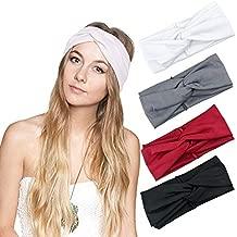 DRESHOW 1950's Vintage Modern Style Elastic Women Turban Headbands Twisted Cute Hair Band Accessories (4 Pack Criss Cross)