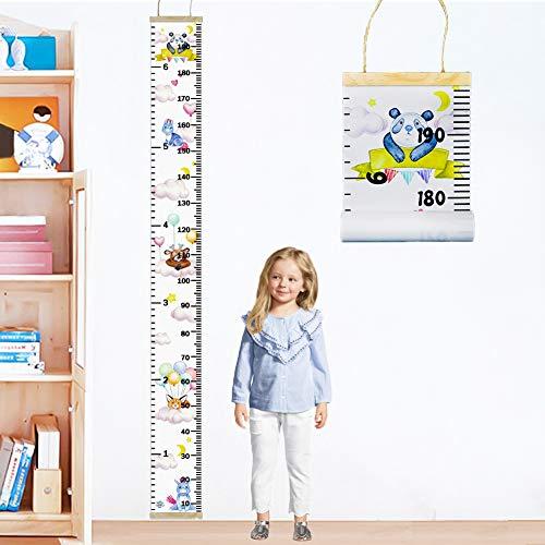 FALUCKYY Messlatte Kinder, meßlatte kinder Baby Wachstumstabelle Leinwand Höhe Diagramme Aufrollbare Aufhängen Messlatte Messleiste für mädchen Jungs Kinderzimmer Dekor