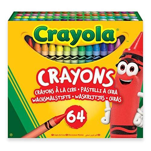 Crayola-64 Pastelli a Cera, per Scuola e Tempo Libero, Multicolore, 52-6448