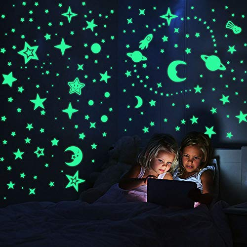 leuchtsterne selbstklebend sternenhimmel Leuchtsticker Wandtattoo - 508pcs Leuchtsterne Punkten und Mond Wandsticker Wandaufkleber DIY für Schlafzimmer Jungen Mädchen Kinderzimmer