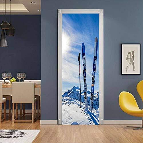 JIANXIQT Deur Stickers Voor Binnendeuren, Citaat Muurstickers Mode 3D Blauw Hemel Wit Sneeuw Scene Snowboard Deur Sticker Natuurlijke Landschap Art Decal Voor Volwassenen Kinderkamer Home Decoratie 77x200cm