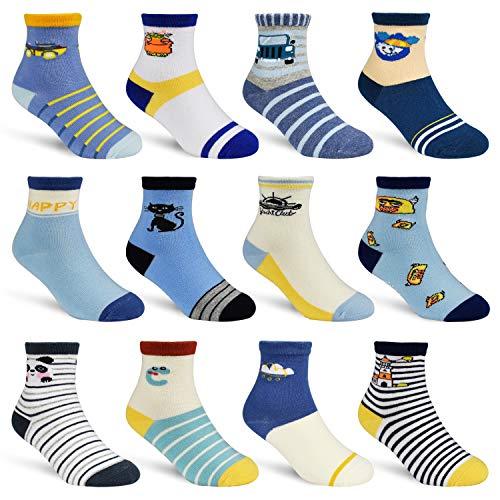 HYCLES Kinder Anti Rutsch Knöchel Socken - 12 Paar ABS Socken für 1-7 Jahre Baby Jungen Mädchen Kinder Kleinkind Säugling Neugeborenes (05 Gehörntes Monster(12 Paare), 5-7 Jahre)