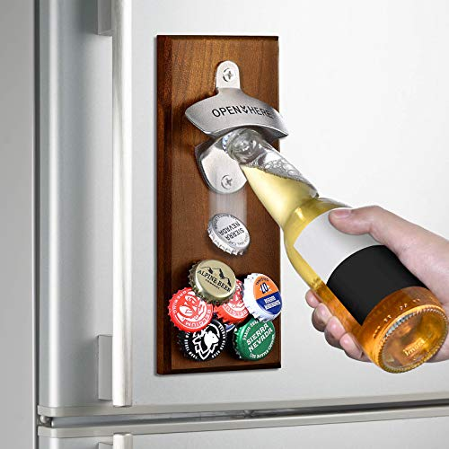 Gifts for Men Dad, Wall Mounted Magnetic Bottle Opener, Unique Beer Valentines Day Gift Ideas for Him Boyfriend Husband Grandpa Uncle, Cool Gadgets Christmas Stocking Stuffers, Birthday Anniversary
