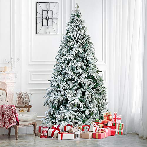 7.5FT Christmas Trees Snow Flocked Hinged Artificial Pine Christmas Tree Holiday Decor w/Metal Stand