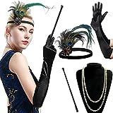 BABEYOND 1920s Flapper Set Damen Gatsby Kostüm Accessoires Set inklusive Stirnband Halskette...
