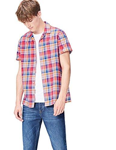 Amazon-Marke: find. Herren Kurzärmeliges Hemd mit Karomuster, Rot (Red Mix), XL, Label: XL