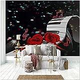 Fotomural No Tejido Decoración Rosa roja piano Foto Wallpaper Comedor Sala De Estar Sofá Telón De Fondo Pintura De Pared Mural De Pared-120x100cm