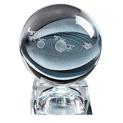 AXAYINC 3D Crystal Ball with Solar System Model,80mm (3.15 inch) Clear...