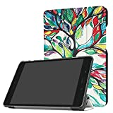 for ASUS ZenPad Z8s Smart Cover, Tri-Fold Ultra Slim Stand Leather Case with Auto Wake up/Sleep Function for Verizon ASUS ZenPad Z8s ZT582KL P00J (2017 Release) 7.9 inch Tablet (Happy Tree)