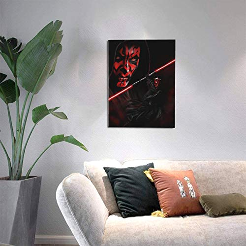 XIAODONG Star Wars Darth Maul Kunstdruck auf Leinwand, gerahmt, 30 x 40 cm