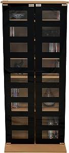 WATSONS Manhattan Armoire de Rangement hetre CD DVD 2 Portes vitreés (Noires)