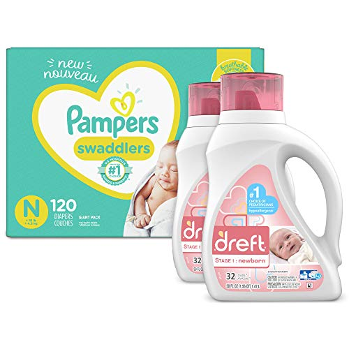Baby Diapers Newborn/Size 0 lt 10 lb 120 Count and Baby Laundry Detergent Pack of 2  Pampers Swaddlers Giant Pack amp Dreft Stage 1 Newborn Hypoallergenic 50 Fl Oz Packaging May Vary