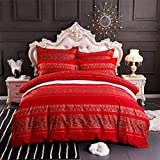 ABREEZE Paisley Duvet Covers Pillowcases Bohemian Red Bedding Set 3-Piece 100% Cotton Bedding Twin Size