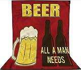Fondo de fotografía de 1,8 x 2,7 m, todo un hombre necesita cerveza mensaje decoración telón de fondo de tela de microfibra, pantalla plegable de alta densidad para fotografía, vídeo y televisión