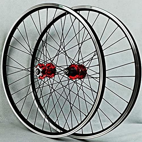 MZPWJD Ruedas Bicicleta Montaña Ruedas Juego 26/27.5/29 Pulgadas 2200g Aleación Aluminio Llanta 32H MTB Rueda Freno Disco Liberación Rápida Buje 7-12 Velocidad (Color : Red, Size : 26inch)