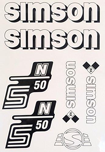 Aufkleber-Set für Simson S50N Tank und Seitendeckel Silber, Rot, Blau, Weiß, Grün, Gelb (Weiß)