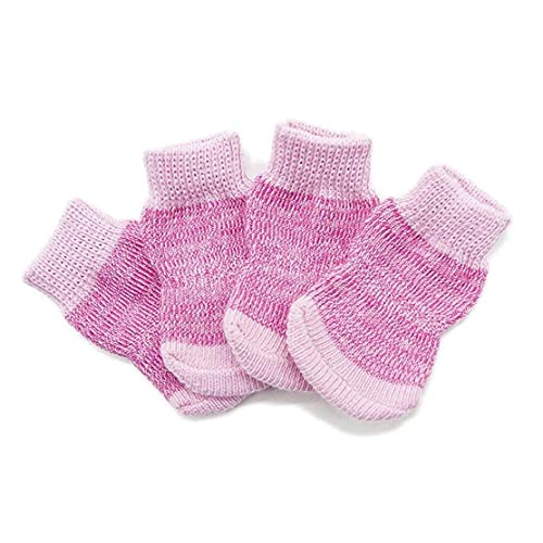 Dog Socks Non-Slip Cat Paw Claw Protector Pet Boot with Rubber Reinforcement for Indoor Wear Pink L 4pcs
