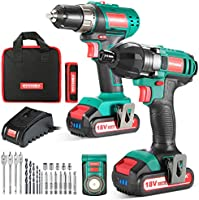 18V Combi Drill Kit, HYCHIKA Electric Drill 35Nm and Impact Driver 160Nm, 2X2.0Ah Batteries, Belt Buckle, LED Light, with...