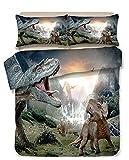 ysldtty Juego De Ropa De Cama con Estampado De Dinosaurio 3D Fundas Nórdicas Fundas De Almohada Edredón Ropa De Cama Ropa De Cama Q-1939E 135CM x 200CM con Funda De Almohada De 2 Piezas 50CM x 75CM