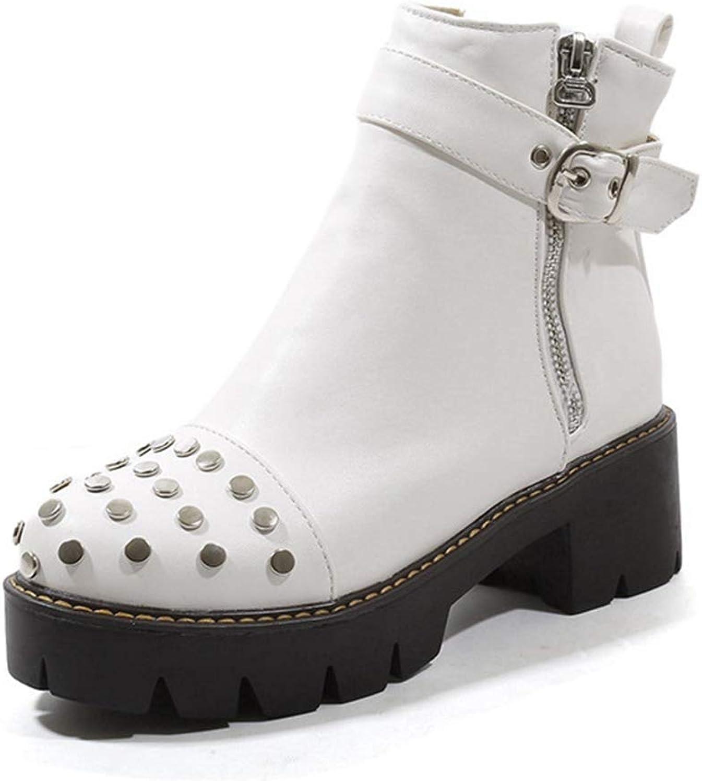 CYBLING Women's Trendy Round Toe Platform Side Zipper Booties Motorcycle Chunky Heel Short Boots
