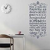 Versículo bíblico Vinilo español Etiqueta de la Pared Sala de Estar Cristiana Dormitorio Etiqueta de la Pared Fondo de Pantalla