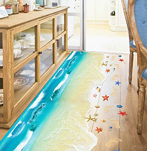 BIBITIME 2 Sheets Vinyl Blue Sea Beach Decal Floor Sticker Wave Shell Starfish Baby Footprints Decor Decals Stickers for Kitchen Bathroom Front Door Nursery Bedroom Children Kids Room