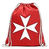 Kiwistar Croce di Malta Divertente zaino sportivo per il fitness. Gymbag per lo shopping in cotone con coulisse