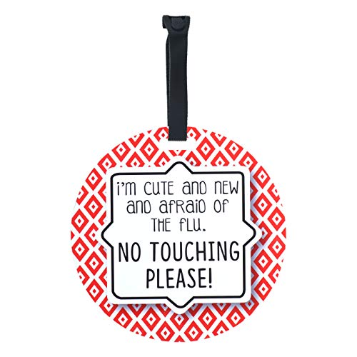 Red Tag - I'm Cute and New and Afraid of The Flu. No Touching Please (Boy Preemie Sign, Newborn, Baby Car Seat Tag, Stroller Tag, Baby Preemie No Touching Car Seat Sign)
