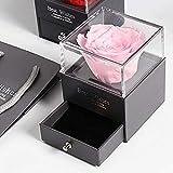 ZSW Caja de joyería Flor eterna preservada de la Bella y la Bestia de Rosas Frescas con Collar Te Amo Regalos de San Valentín