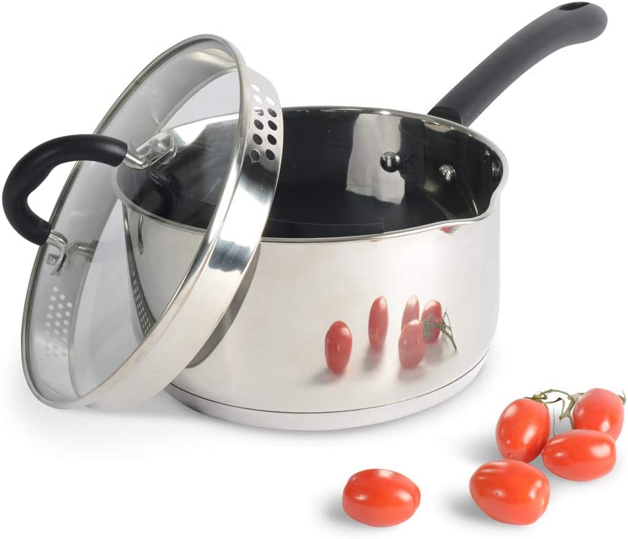 ProCook Ranking TOP2 Gourmet Stainless Steel Strain Daily bargain sale Induction Saucepan Pour