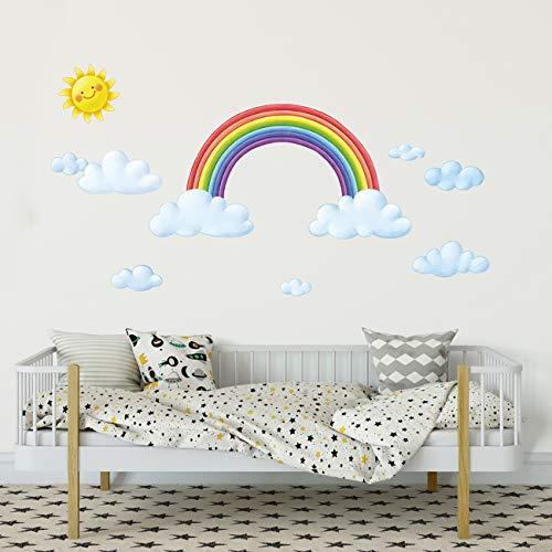 DECOWALL DA-1913 Wolken und Regenbogen Wandtattoo Wandsticker Wandaufkleber Wanddeko für Wohnzimmer Schlafzimmer Kinderzimmer