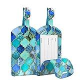 [2 Stück] Fintie Kofferanhänger aus Kunstleder, Gepäckanhänger ID Etikett mit Adressschild Namenschild für Reisetasche Koffer, Mint Jade Mosaik