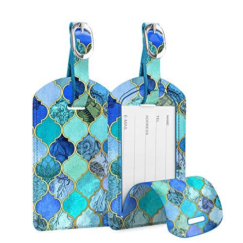 [2 Pack] Luggage Tags, FINTIE Synthetic Leather Name ID Labels with Back Privacy Cover for Travel Bag Suitcase, Cool Jade